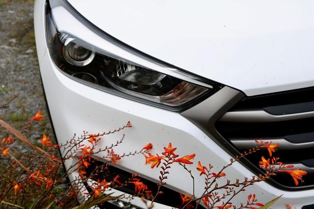 přední světla, bílé auto