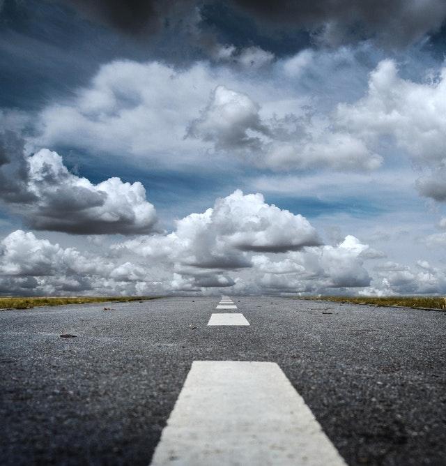 silnice, povrch vozovky, mraky